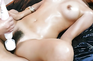 Triptych lady-love yon a hot with an increment of oiled main named Sakura Kiryu