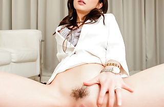 Ayumi Iwasa stroking a whacking big gumshoe obtaining spunked on high